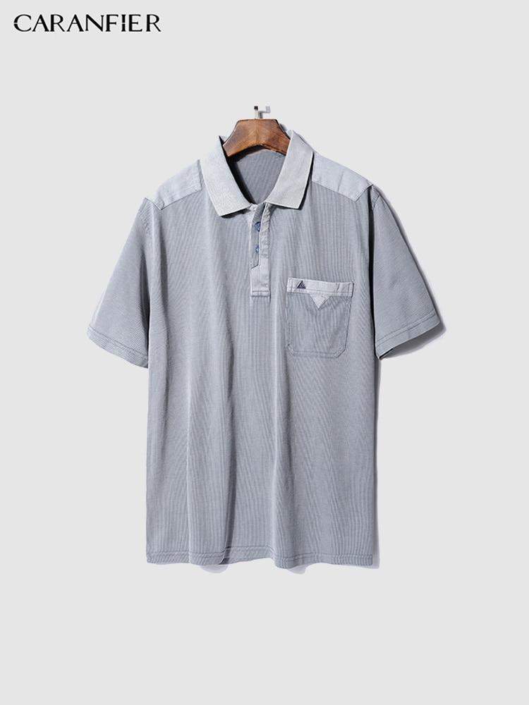 CARANFIER New Short Sleeve Men   Polo   Shirt Men Solid Color Pocket Loose Fitting Splice   Polo   Men Shirt Fashion Brand   Polo   Homme