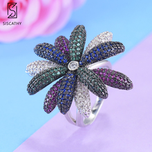 SISCATHY 2019 Luxury Blossom Flower Floral Ring For Women Cubic Ziron CZ Wedding Engagement Dubai Bridal Finger Rings Jewelry цена и фото