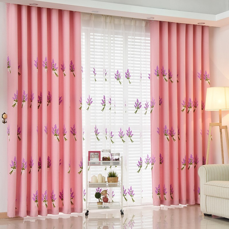 Lavender Embroidered Curtains For Living Room Rustic High Quality ...