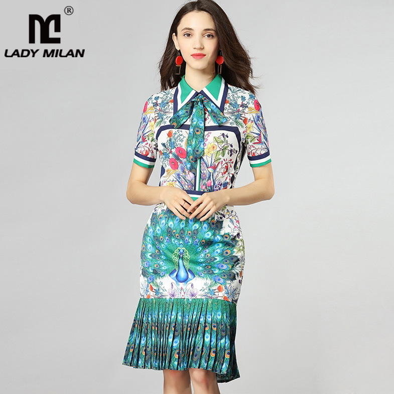 Womens Turn Down Collar Bow Detailing Printed Shirt with Pleated Mermaid Skirts Fashion Runway Twinsets Two Piece Dress