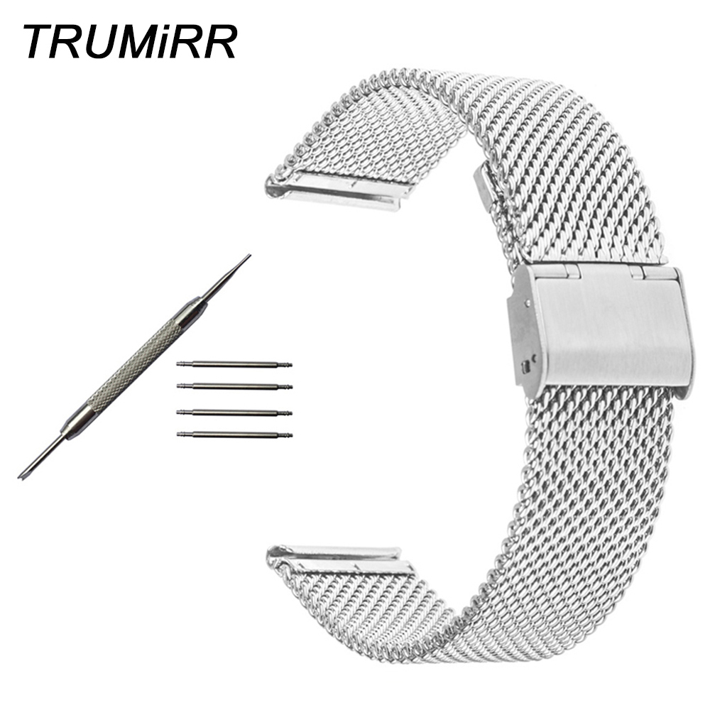 Milanese Watchband for Zenith Moser Paul Picot Watch Band Stainless Steel Strap Wrist Bracelet Silver Gold Black 18 20 22 24mm top quality new stainless steel strap 18mm 13mm flat straight end metal bracelet watch band silver gold watchband for brand