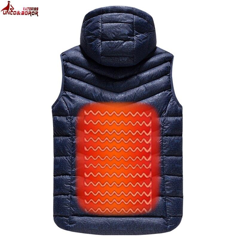 UNCO y BOROR actualizado al aire libre de los hombres de infrarrojos USB calefacción chaleco chaqueta de invierno eléctrica de fibra de carbono ropa térmica chaleco