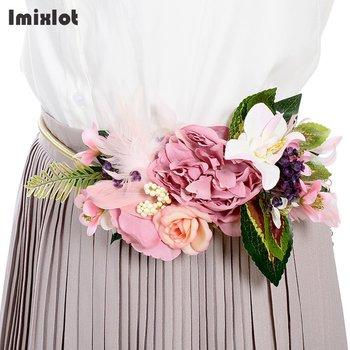 ff730b1e Cinturones de flores artificiales para mujer, vestido para dama, cadena de  cintura, flores, cintura, faja para boda, accesorios para vestido, cadena  ...