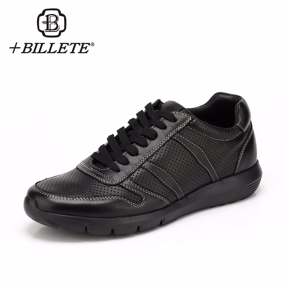 Billete Fashion Shoes Men Black Designer Shoes Casual Luxury Genuine Leather Mens Breathable Male Shoe Adult Newest Footwear