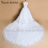 Luxury Crystals Ball Gown Wedding Dresses 2 5M Royal Train White Lace Bridal Gown Wedding Gowns