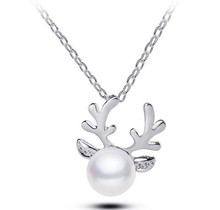 plated silver antlers simulated pearl crystal necklace  Christmas jewelery latest wedding jewelry