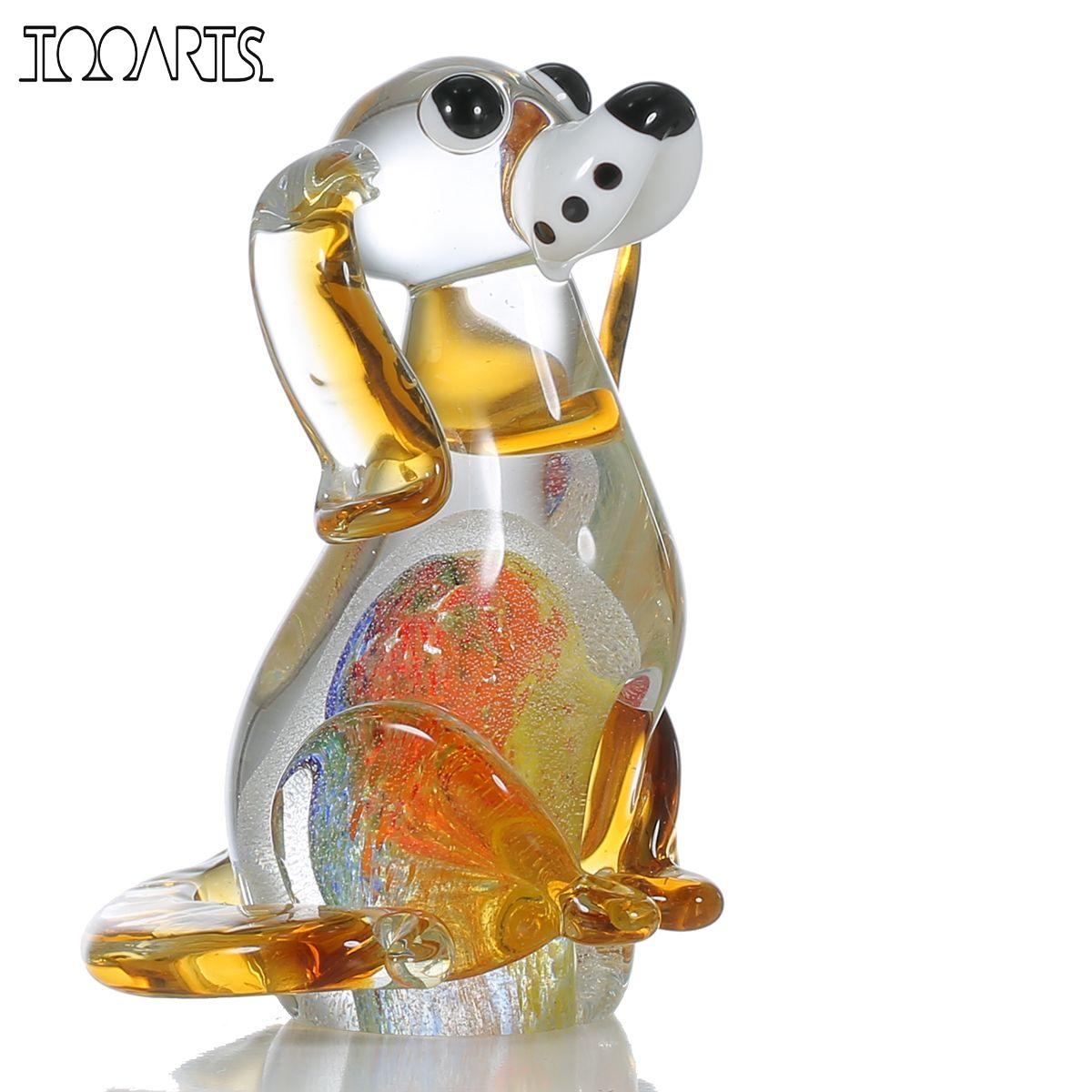 Glass animal ornaments - Tooarts Puppy Glass Figurine Home Decor Animal Figurine Ornament Favor Gift Glass Craft Decoration For Home