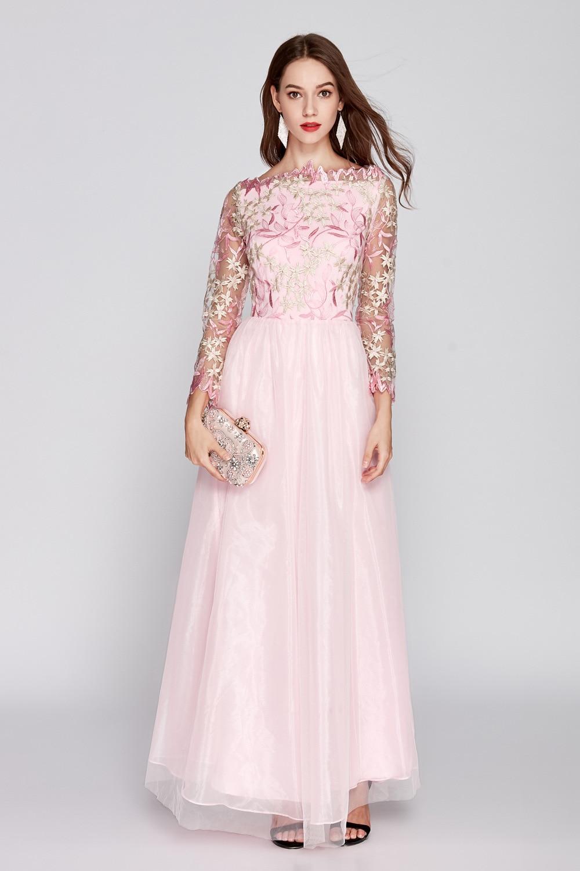 De Vert Manches rose Neck Patchwork O Broderie Femmes Bal Designer Mode Corsage Maxi Nouvelle Long Partie Piste Robes 2019 Arrivée UqYvpv