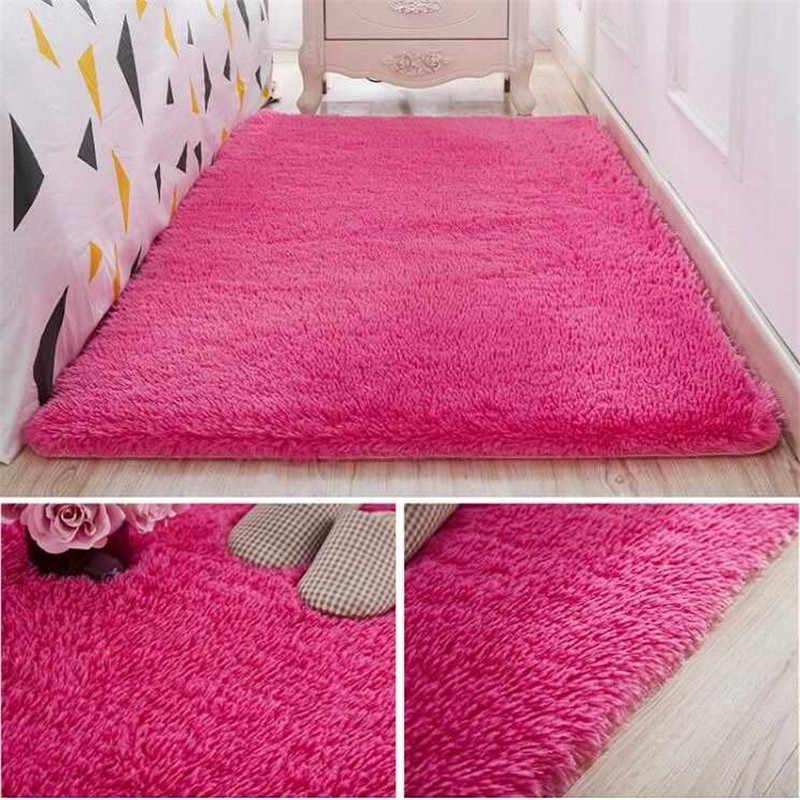 Épaissi lavé soie cheveux tapis antidérapant salon table basse couverture chambre chevet tapis yoga tapis solide couleur peluche