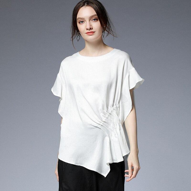 Summer Fashion shirt ruffles irregular rayon linen street wear asymmetrical casual blouse tops plus size oversized camisa tee4XL