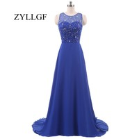 ZYLLGF Royal Blue Bridesmaid Dress Robe De Demoiselles D Honneur Pour Mariage Beaded Ladies Dresses For