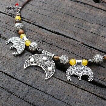 Tigerauge & Starre Lunula Anhänger, slawischen Inspiration Grobe Viking Alter Kleid Kette Halskette Brosche Schmuck Für Schöne Frauen