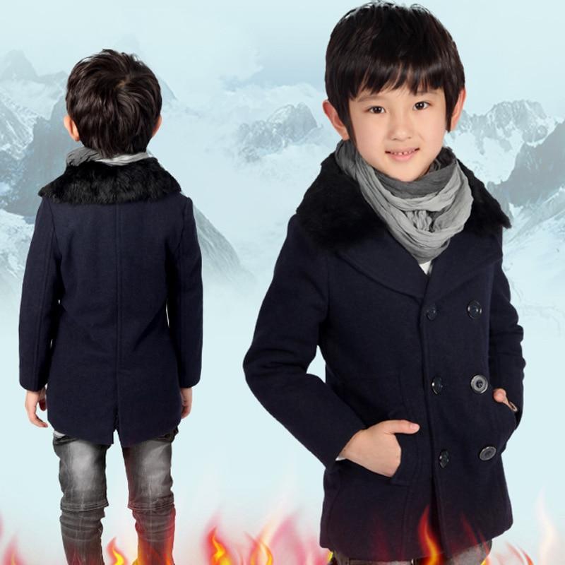 все цены на Children's wear jacket 2018 new fashion boys and girls woolen coat children's big children's woolen coat suit collar collar coat