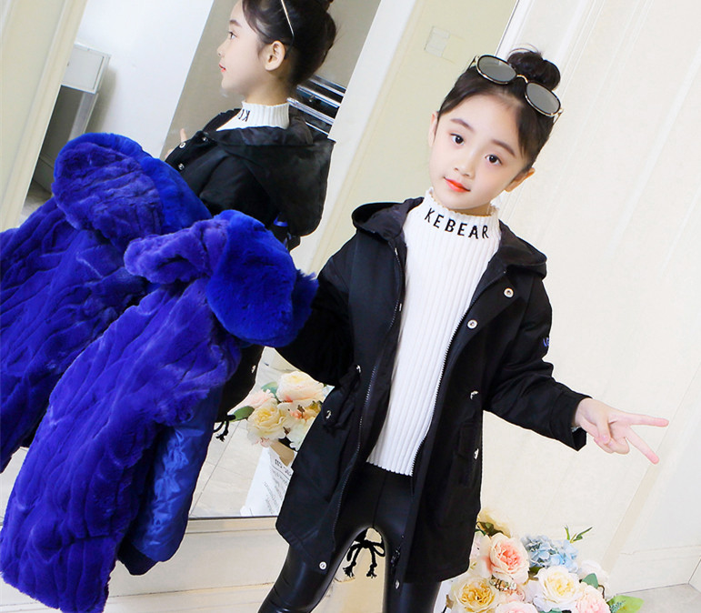 Childrens school to overcome female 2019 new rex rabbit hair liner girls fur thick coat in the long paragraph winter coatChildrens school to overcome female 2019 new rex rabbit hair liner girls fur thick coat in the long paragraph winter coat
