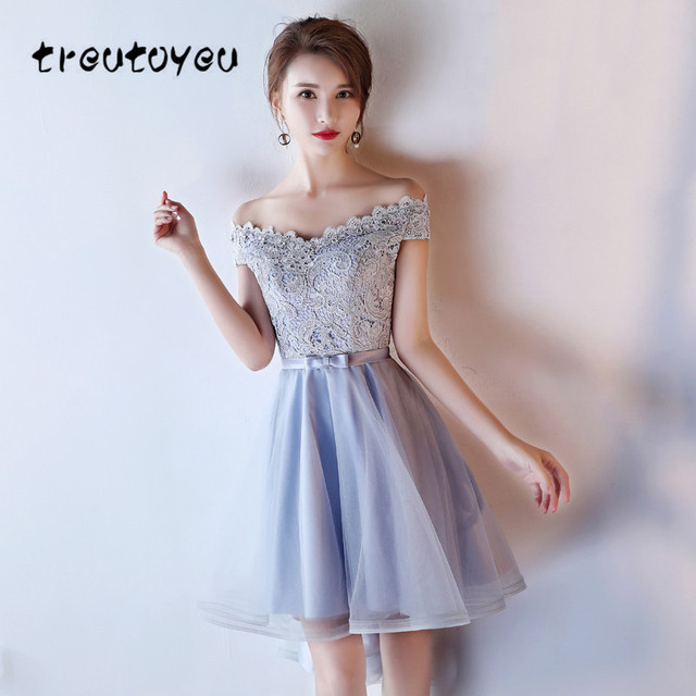 US $55.48  Treutoyeu Plus Size S 4XL Tuxedo Dress Women Lace Dress Crystal  Sweet Off the Shoulder Dress for Evening Party Mujer D019E-in Dresses from  ...