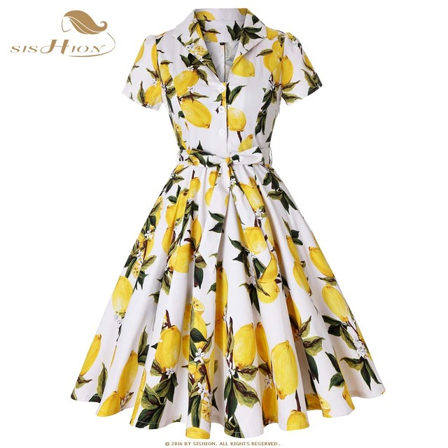 64aa3602959 SISHION Cotton Plus Size Autumn Vintage Dresses Lemon Print Floral White  Yellow 1950s Style Elegant Party Dress Plus Size SD0002-in Dresses from  Women s ...