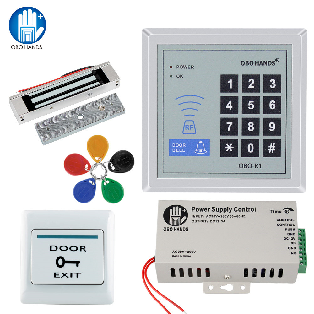 OBO HANDS rfid keypad ประตู access control system kit ไฟฟ้าแม่เหล็กประตูล็อคอิเล็กทรอนิกส์ + แหล่งจ่ายไฟ + 5 pcs key fobs ชุด