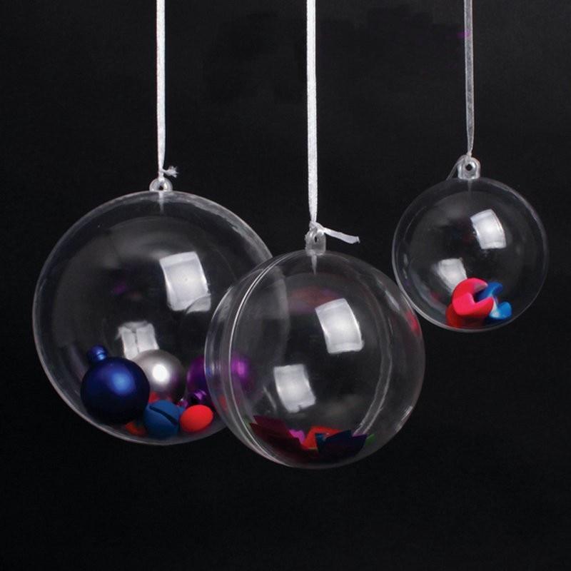 100 ピース 5 センチボールクリアプラスチックボール花保存容器キャンディボックス透明中空球装飾  グループ上の ホーム&ガーデン からの ボールオーナメント の中 1