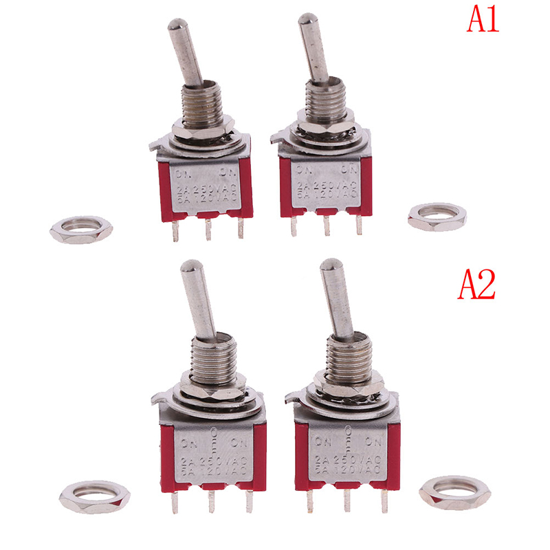 2Pcs 2/3 Way Selector Electric Guitar Pickup Switches Guitar Toggle Lever Red Guitar Mini Toggle Switch Car/Boat Switches