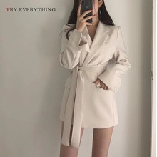 White Blazer Women Long Ladies Blazers And Jackets Black Sleeve With Belt Woman 2019 Coat