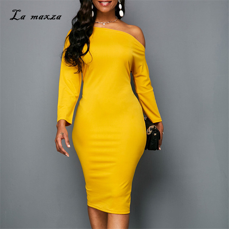 e132ba0ee4 2019 Women Summer Dress Sexy   Club Party Night Dresses Elegant Bodycon  Yellow Midi Office Dress