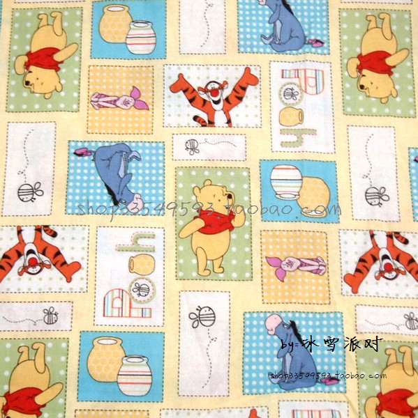 100X100cm Bear Winnie the Pooh and His Friends Jigsaw Cotton Fabric for Boy Clothes Cushion Covers Bedding Set DIY-BK009100X100cm Bear Winnie the Pooh and His Friends Jigsaw Cotton Fabric for Boy Clothes Cushion Covers Bedding Set DIY-BK009