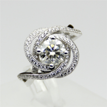 Round Brilliant 1CT  Moissanites Color F VVS1 Solid 14k White Gold Jewelry Rose Gold Lab Grown Diamond Engagement Ring