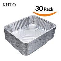 KHTO 30 CÁI Vệ Sinh Grills Aluminum Foil Tấm Chảo Lưu Trữ Bowls Container cho BBQ Thịt Nướng Baking Làm Thực Phẩm Tươi 9