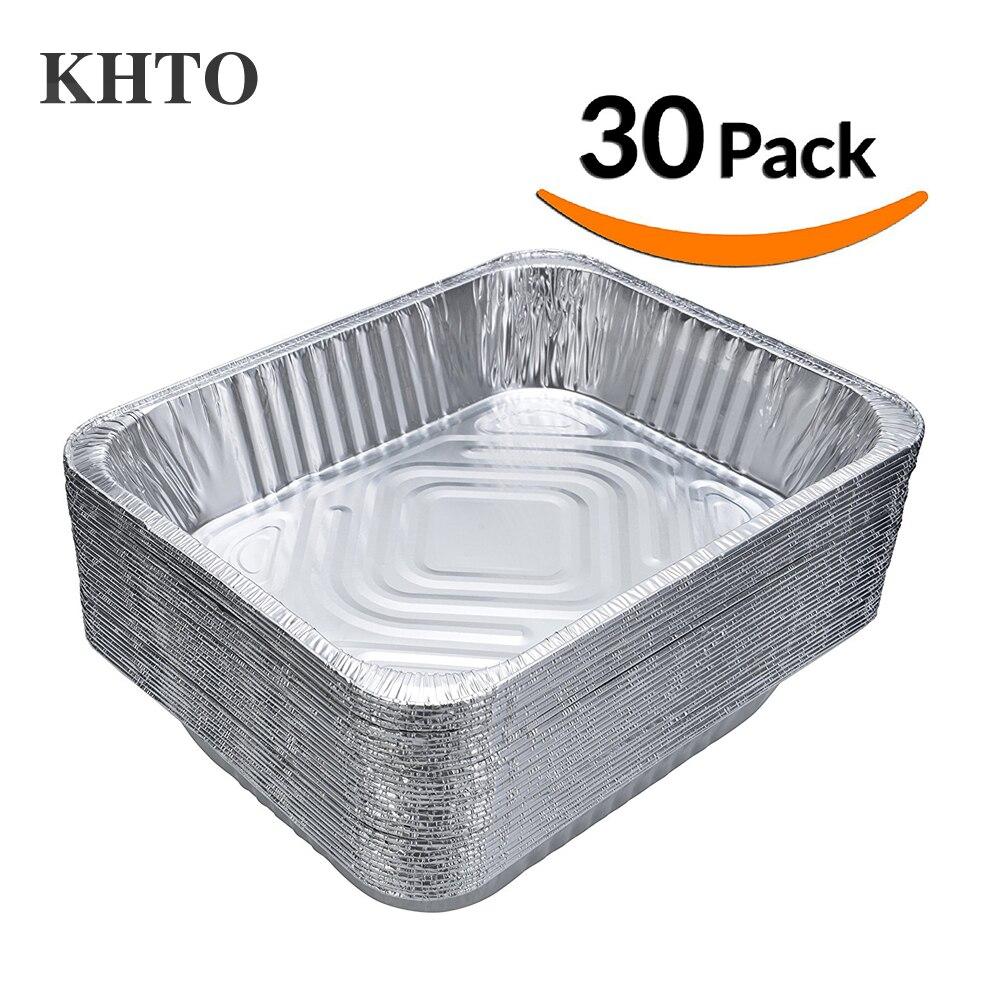 KHTO 30 PCS Sanitaires Grilles En Aluminium Feuille Plaque Casseroles Bols De Stockage Conteneur pour BARBECUE Barbecue Cuisson Faire de La Nourriture Fraîche 9 x 13