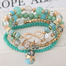 2018 Bohemian Multilayer Crystal Beads Bracelets & Bangles 8 Infinity Crown Charm Jewelry For Women Gift Pulseras Mujer