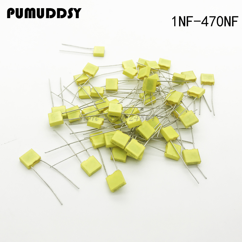 1000pcs Polypropylene Safety Plastic Film  100V 1nF ~ 470nF 100nf 220nf 10nf 47nf 22nf 1nf 0.47uf 0.1uf Correction capacitor