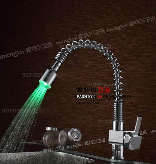 "Mailed free high quality double kitchen sink LED smoked pull ""mixed faucet"