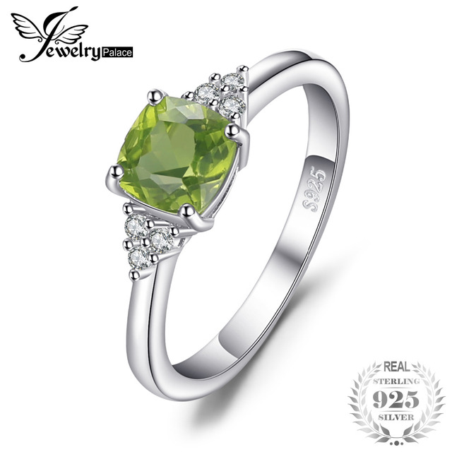 JewelryPalace Classic 1.2ct Cushion Cut Natural Peridot Ring Solid 925 Sterling