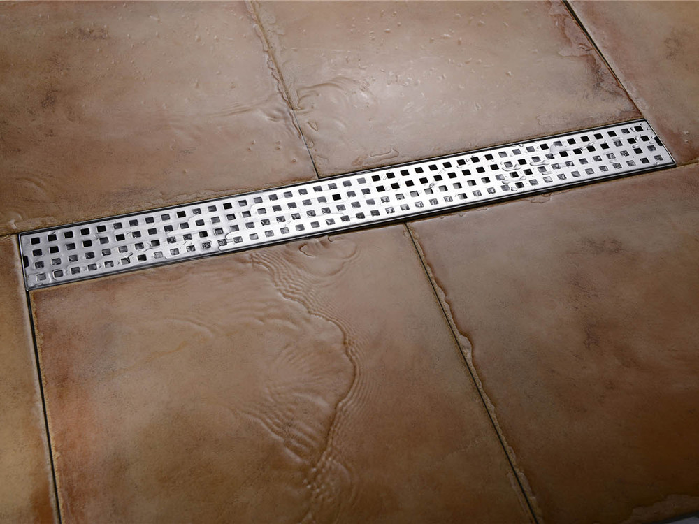 ФОТО 100CM  SUS 304 stainless steel sheet is inserted straight floor shower drain, large flow shower channel drain