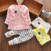 Girl Clothes Set Spring Autumn Four Flower Long Sleeved Cardigan Jackets Gray Stripe Leggings Baby Christmas