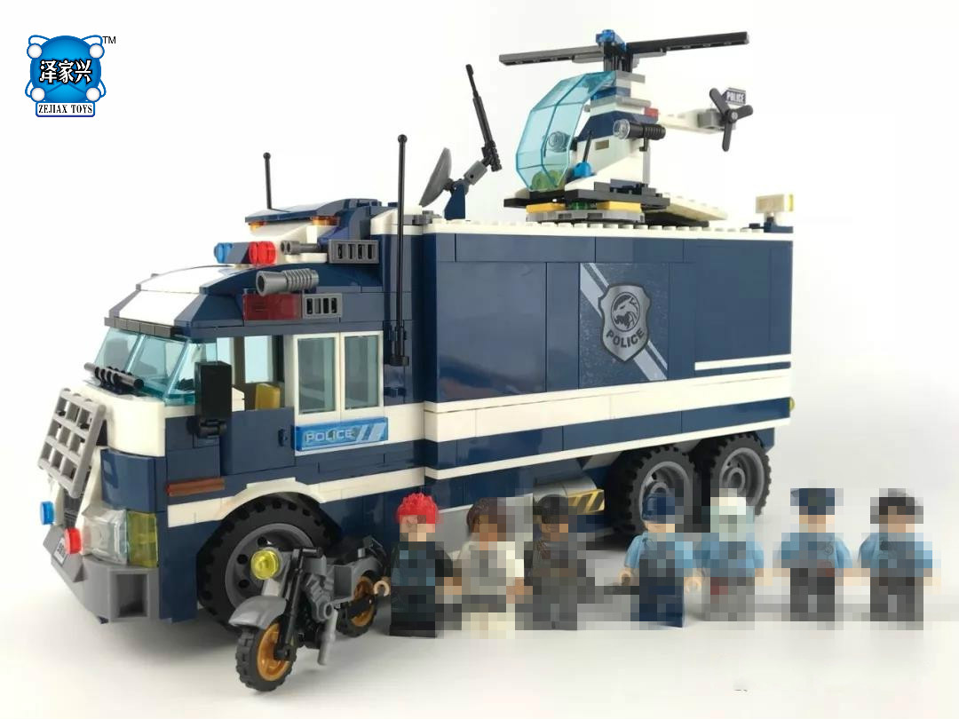 DIY City Future Super Police Dragon Rage Mobile Prison Truck Building Block Prisoner Policeman Figures Motorcycle Helicopter Toy