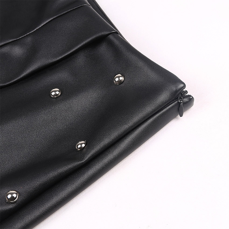 WYHHCJ 2018 new fashion summer women skirt anomaly rivet decorate empire sexy skirts pencil mini pu patchwork leather skirt 11