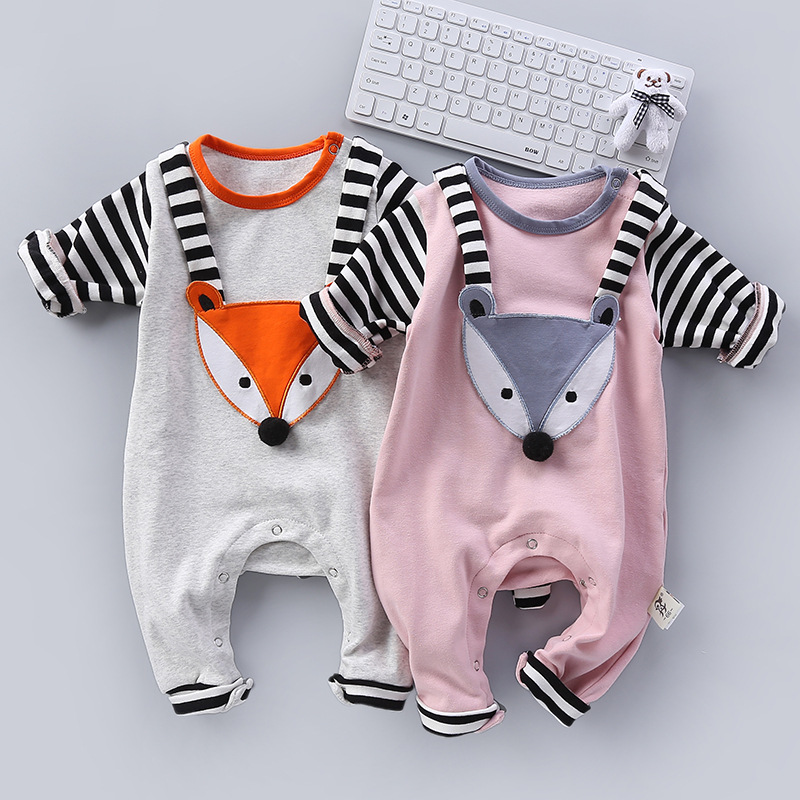 Adorable Striped Fox Baby Boys Coveralls Autumn Winter Newborn Girls One-Pieces Outfits Grey Soft Infant Cotton Jumpsuit 2 Years cotton baby rompers set newborn clothes baby clothing boys girls cartoon jumpsuits long sleeve overalls coveralls autumn winter