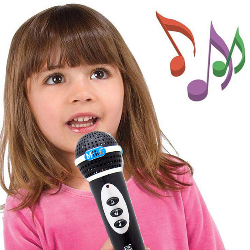 Baby Kids Microphone Mic Toys Karaoke Singing Kid Funny Gift Music Toy Children Simulation Microphone Black Musical Instrument