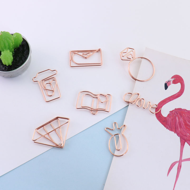 1Pcs New Rose Gold Heart Camera Love Shape Paper Clips Bookmark Planner Scrapbooking Tools Memo Clip Metal Binder Paperclip