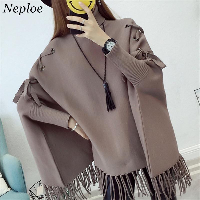 Neploe Drawstring Solid Casual Loose Pullover Tassel Batwing Sleeve Knitted Women Cloak Style Sweater 2019 Auttum Outwear 69377