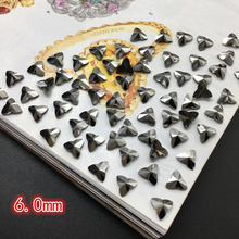 Trefoil-shaped Ore black Jet Crystal Stones Flatback special-shaped Glass Nail Rhinestones For Nails Art 3D Decorations Accessor
