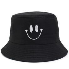 купить 2019 summer 100%cotton Smiley embroidery Bucket Hat sun cap Fisherman Hat outdoor travel hat Sun Cap Hats for Men and Women по цене 283.97 рублей
