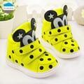 2017 de la historieta de 0 a 3 años de edad del bebé niñas zapatos de moda partido de los cabritos botas buena calidad zapatos del niño recién nacido amarillo negro rojo