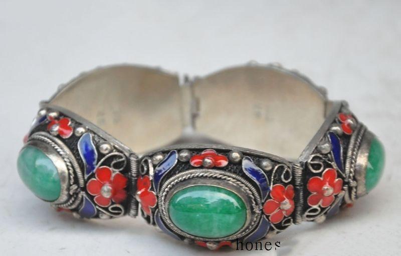 China Natural inlay tibet-silver green jade enamel Cloisonne blue Flower Pendant
