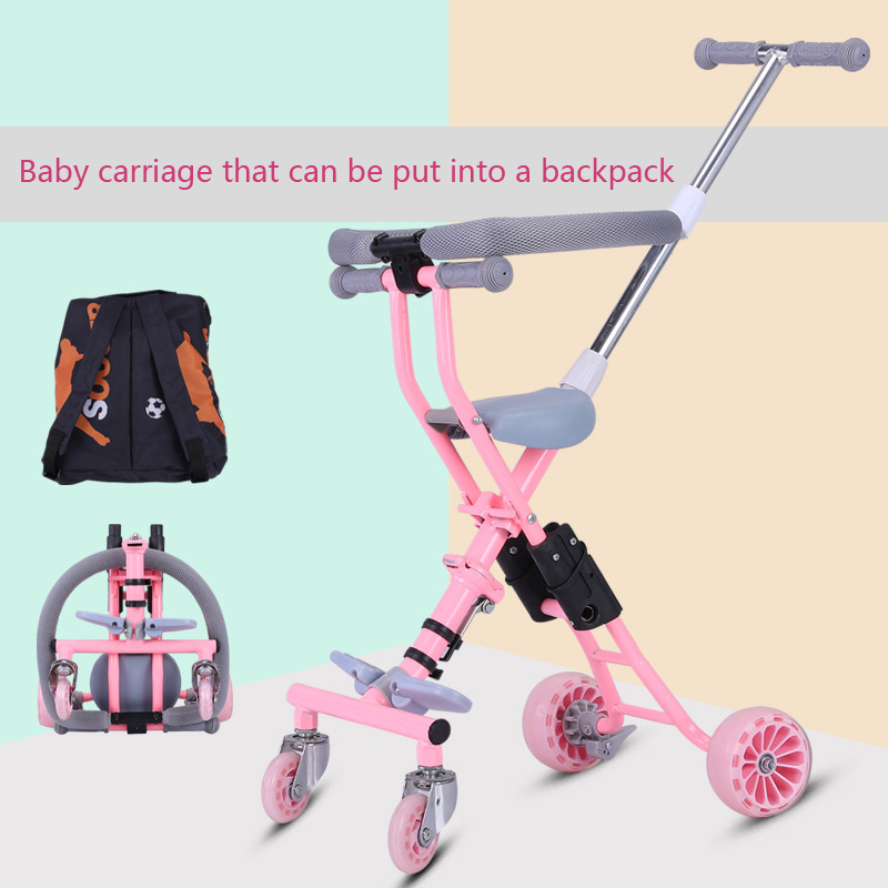 Baby tricycle baby trolley for 1-7 years Simple portable hand push child folding Four-wheel&Five wheel baby carriage pink