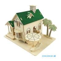 3D חידת בית עץ לבוד DIY דגם צעצוע נוף לים בית DIY פאזל לילדים ללמוד צעצועים חינוכיים מתנה לחג המולד