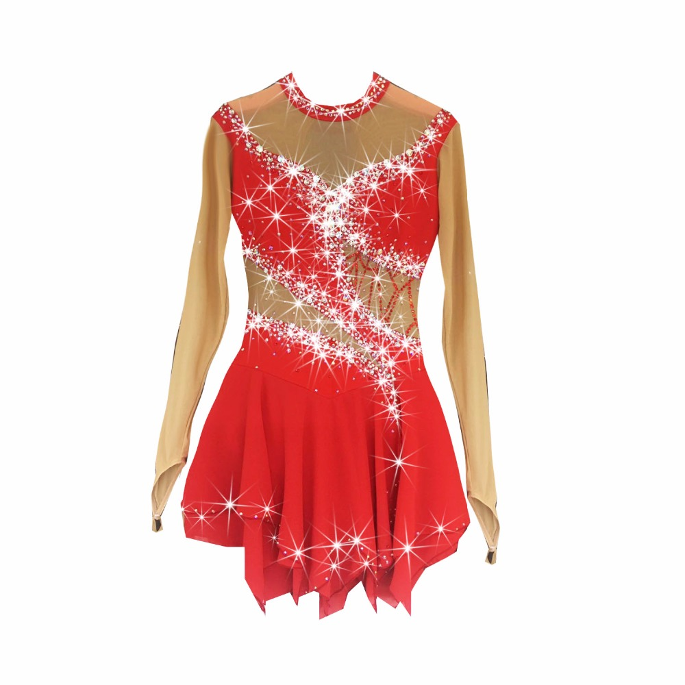 Red Figure Skating Dress Women's Girls' Ice Skating Dress Competitive Performance Clothing Round Neck Long Sleeve Rhinestone