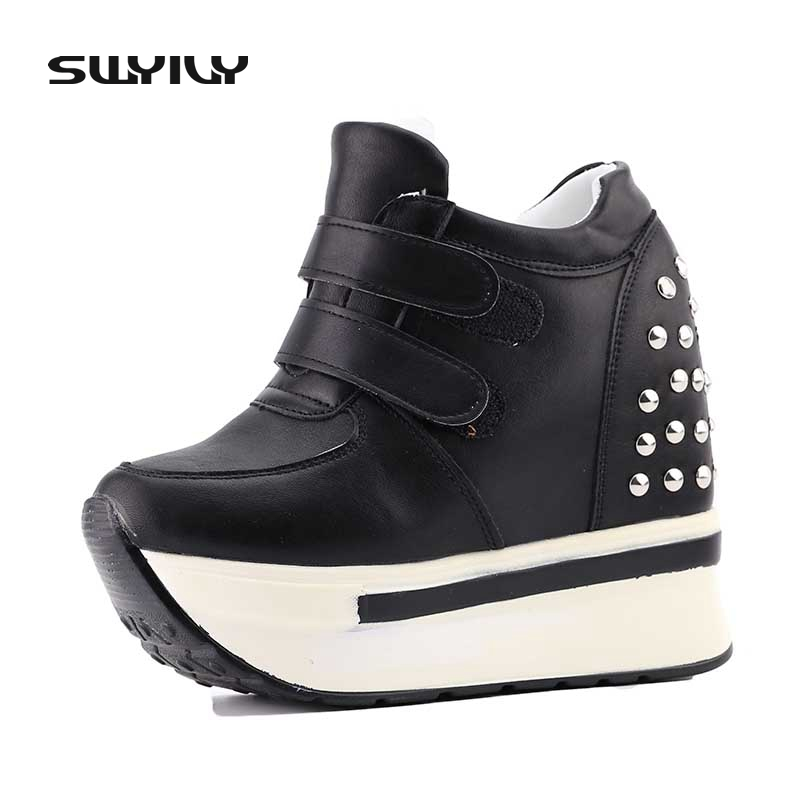 SWYIVY Women Casual Shoes 12cm Hided Wedge Sneaker Shoes Woman Rivet Platform Sneakers Womens Sneakers White Canvas Shoes Female popular white cattle hide zip womens sneakers