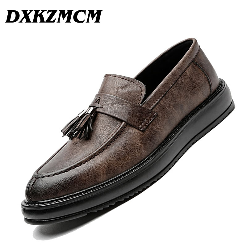 DXKZMCM Men Dress Shoes Brand Luxury Leather Oxfords Business Classic Gentle Man Formal Shoes hot sale luxury brand men classic oxfords italian mens leather dress shoes new men formal shoes black white patch flowers 39 46